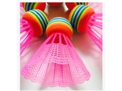 儿童彩色塑料羽毛球 EVA彩虹球 大头球 儿童羽毛球拍专用球