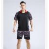 2018夏新款网羽毛球服套装男女款翻领图案短袖配短裤运动服6030