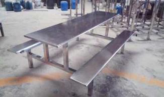 厂家直销 八人位 长条全不锈钢连体餐桌 全套餐桌 学生员工食堂