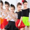 儿童夏季拉丁女童短袖分体斜边舞蹈裙练功服少儿比赛拉丁演出套装
