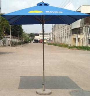 户外铝合金沙滩米兰广告咖啡厅摆摊庭院双顶遮阳桌椅室中柱伞定制