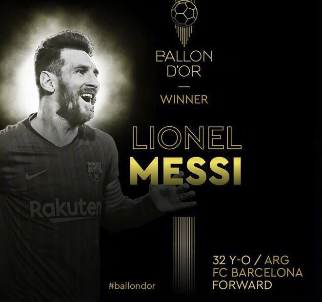历史第一人! 梅西获得第六座金球奖