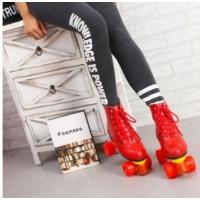 新款红色牛皮双排溜冰鞋成人闪光轮滑鞋溜冰场专用旱冰鞋轮滑鞋
