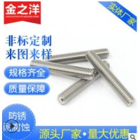 304不锈钢牙条 丝杆通丝螺杆全牙螺杆M3M4M12M14M16M18M20可定制