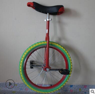 16寸独轮车儿童双层加厚铝合金圈溜肩彩胎独轮自行车单轮车平衡车