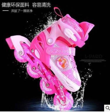 捷豹儿童溜冰鞋粉色全套装可调男女滑冰鞋全闪光直排轮滑鞋B68