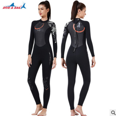 DIVE&SAIL新款中国风潜水服1.5mm保暖潜水衣连体长袖冲浪水母泳衣