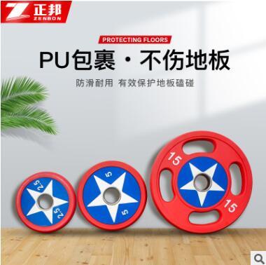 厂家直销健身房专用PU杠铃片环保包胶三孔哑铃片大孔男士健身器材