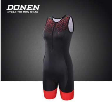 DONEN达恩 夏季铁三服女无袖铁人三项连体服游泳跑步自行车骑行服