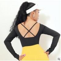 美背交叉含胸垫一体瑜伽服速干显瘦弹力跑步运动长袖上衣女健身衣