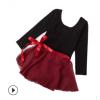 女童纯棉长袖舞蹈练功服 2件套芭蕾舞雪纺纱裙 可开档形体考级服