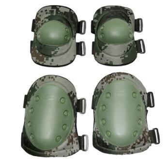 轮滑护膝护肘 07迷彩护膝护肘四件套 CS护具 军迷野战装备套装