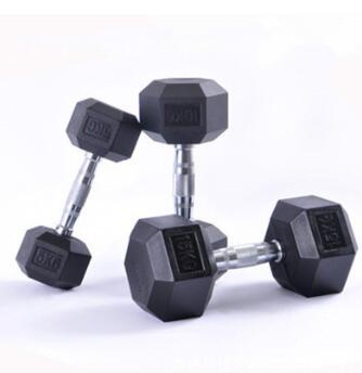 六角包胶哑铃男士家用女健身练臂肌5/10/12.5/15公斤电镀哑铃器材