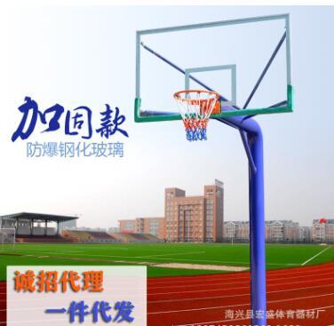 批发学校地埋圆管篮球架 室外 固定式单臂篮球架 成人单柱蓝球架