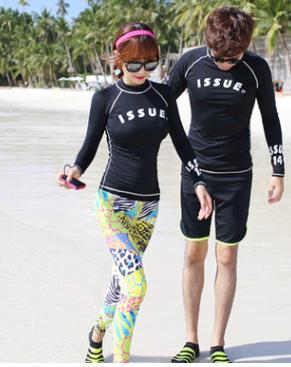 潜水服女分体套装长袖防晒小胸遮肚显瘦速干运动水母韩国潜水服女