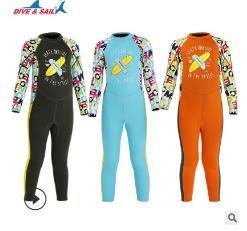 新款2.5mm儿童保暖泳衣连体加厚潜水服长袖中小童浮潜冲浪水母衣
