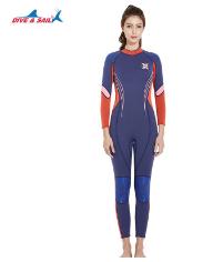 新款3MM加厚保暖潜水服女连体长袖冲浪服冬泳防寒潜水衣水母泳衣
