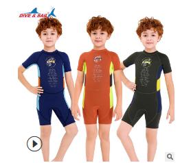 2020新款儿童保暖泳衣2.5MM连体潜水服男短袖防寒浮潜冲浪水母衣