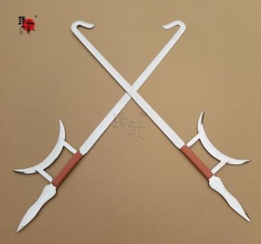 不锈钢武术双钩虎头双钩月牙钩表演护手双钩