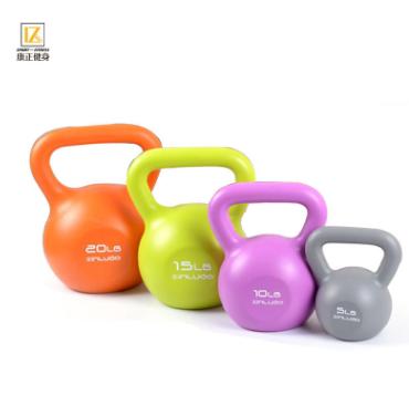 女士健身彩色环保PE壶铃灌沙竞技训练手臂提壶哑铃
