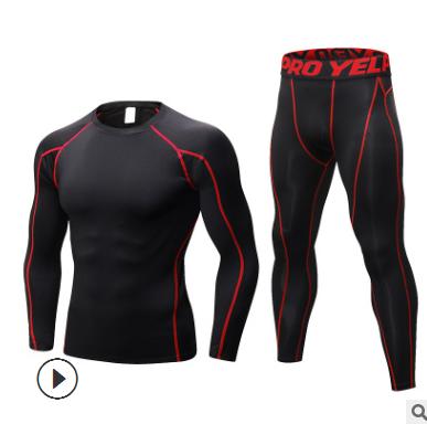 男士PRO紧身 健身运动训练服 弹力速干衣套装长袖+长裤1059+1060