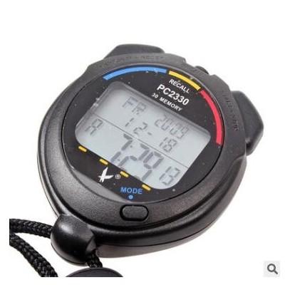 天福秒表PC2330三排电子计时器教练裁判田径计时跑步表30道记忆