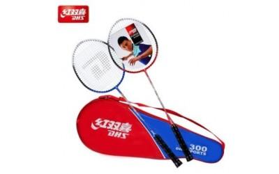 红双喜DHS300铁合金一体羽毛球拍 家庭娱乐业余初级套装