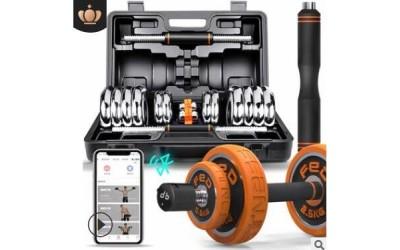 飞尔顿 哑铃男士健身器材家用电镀哑铃套装可拆卸可调节杠铃