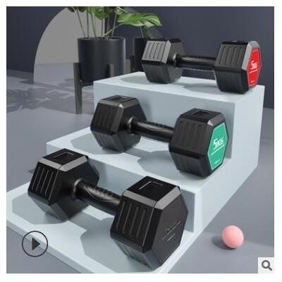TEZEWA六角哑铃包胶哑铃家用健身器材男士练臂肌女士5KG包胶哑铃